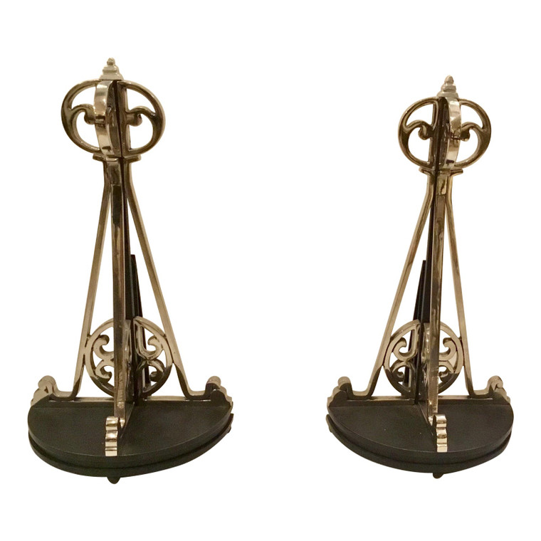 Art Deco Polished Nickel Andirons - a Pair