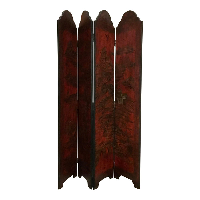 Red Four Panel Wood Screen With Asian Landscape