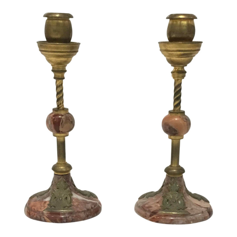 1920s Art Deco Antique Marble and Brass Candlesticks - a Pair