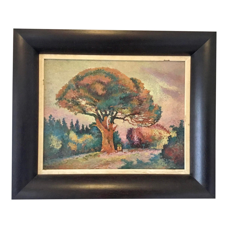 Custom Framed Antique Pointillism Oil Painting of a Tree on Canvas