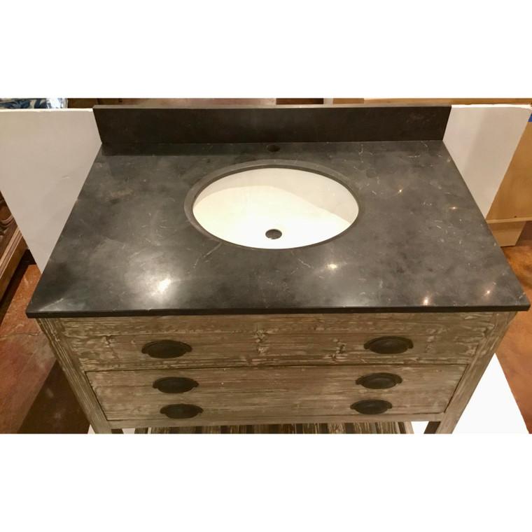 Industrial Modern Reclaimed Fir Wood Blustone Sink Vanity