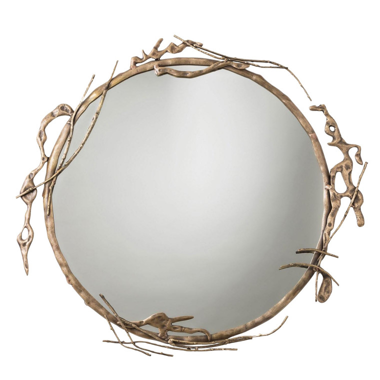 Transitional Arteriors Home Brass Ivy Wall Mirror