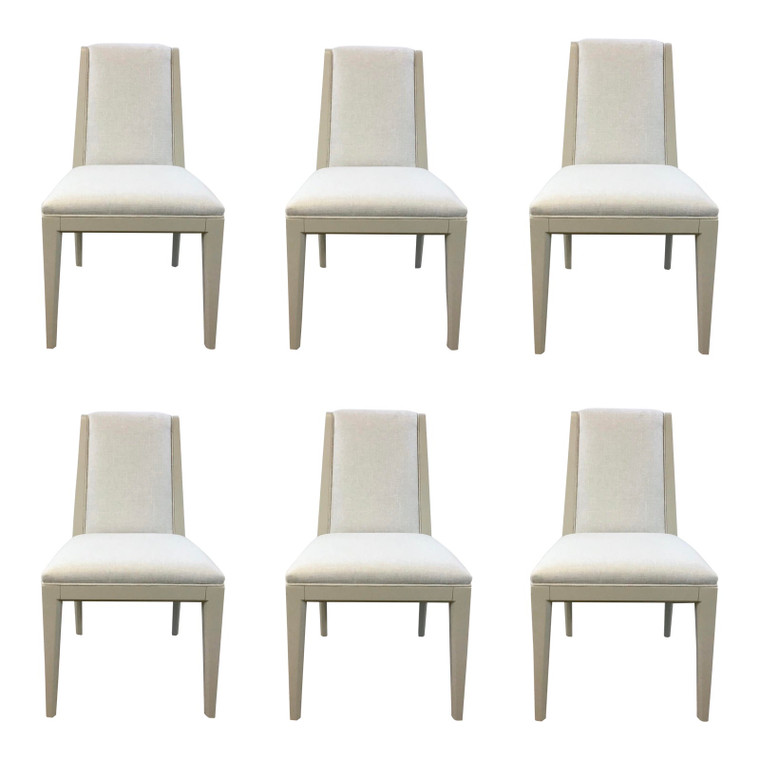 Caracole Modern Greige Linen Dining Chairs Set of Six
