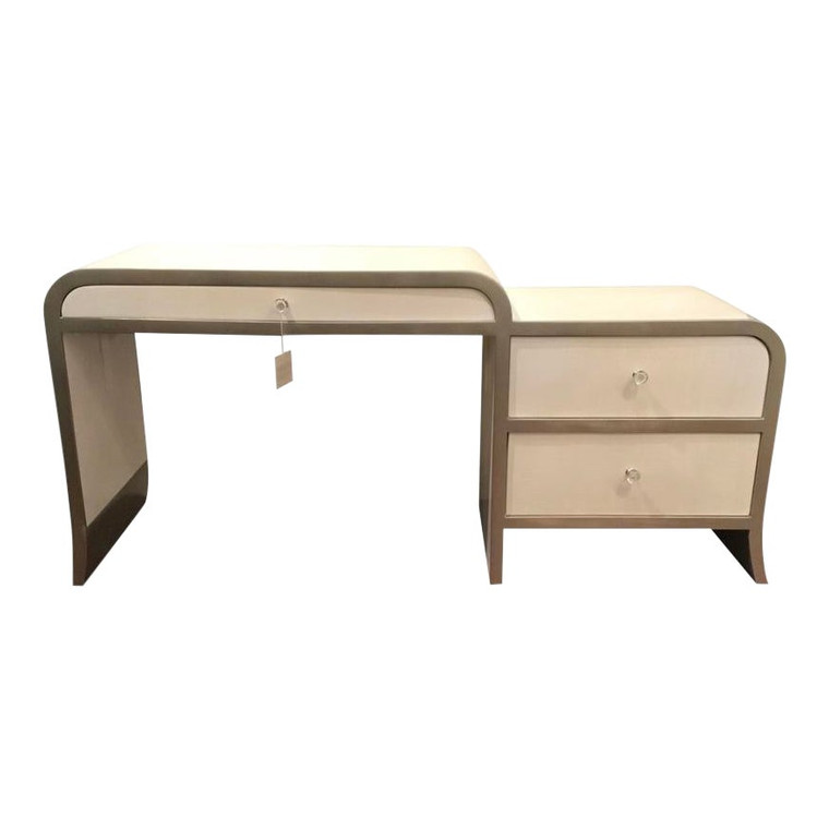 Caracole Modern White and SIlver Leaf Vice Versa Writing Desk