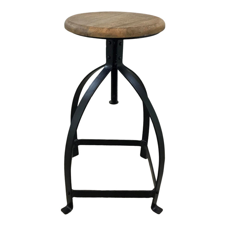 Industrial Modern Wood and Metal Adjustable Counter Stool