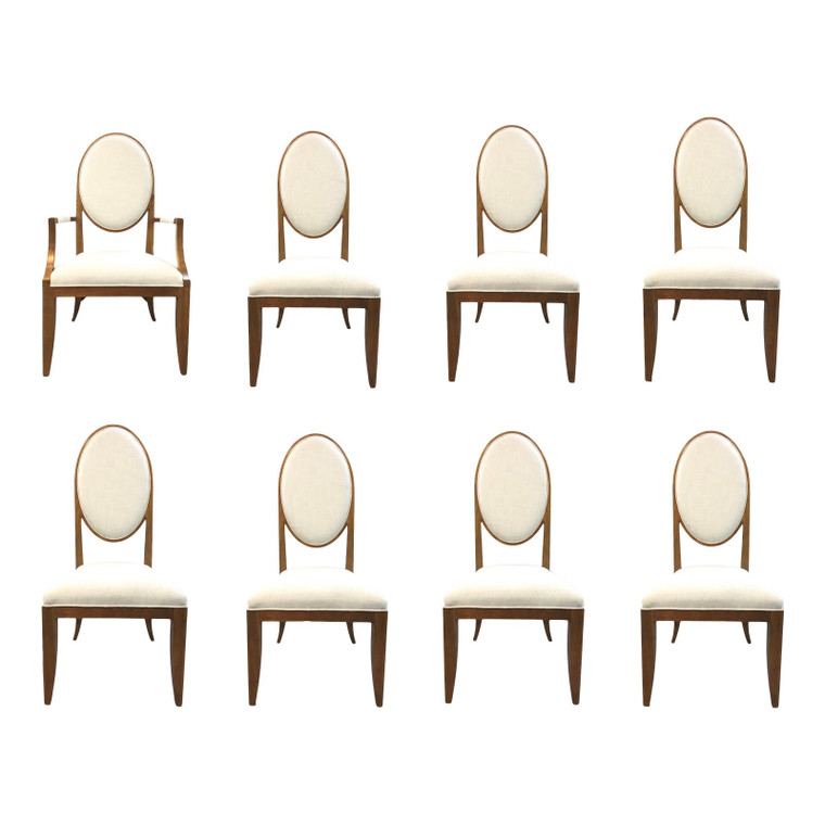 Maitland-Smith Mid-Century Modern Inspired Oval Back Dining Chairs-Set of Eight