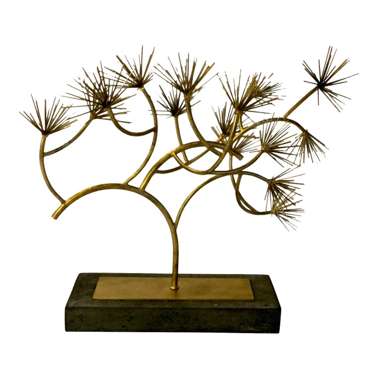 Mid-Century Modern Style Brass and Black Stone Conifer Sculpture