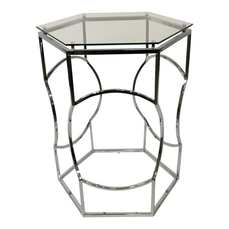 Modern Geometric Polished Nickel and Glass Side Table