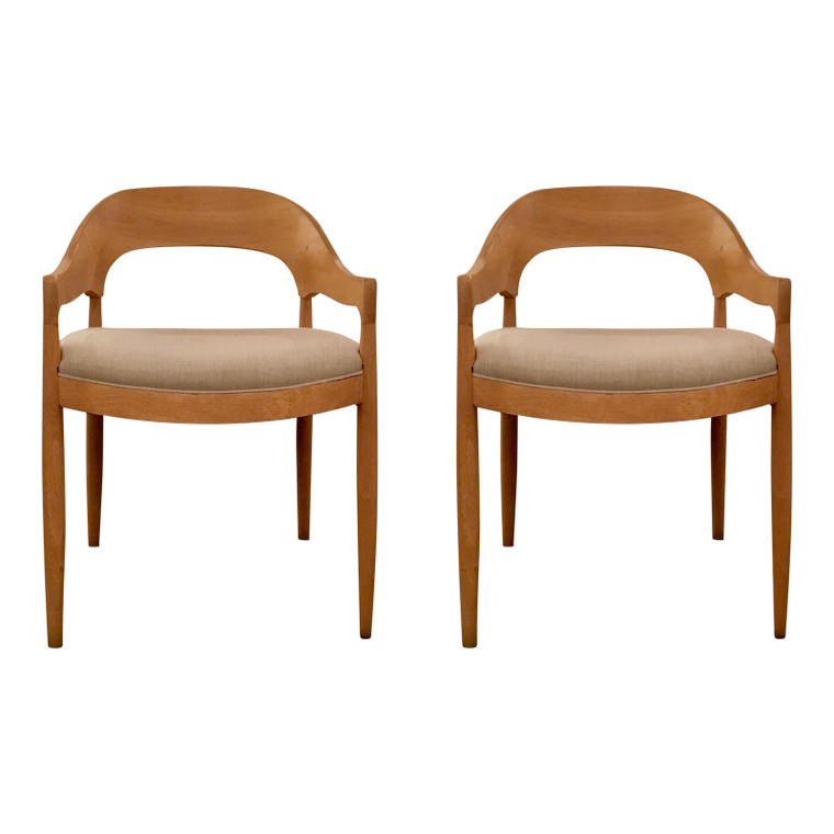 Danish Modern Style Gray and Blonde Arm Chairs Pair