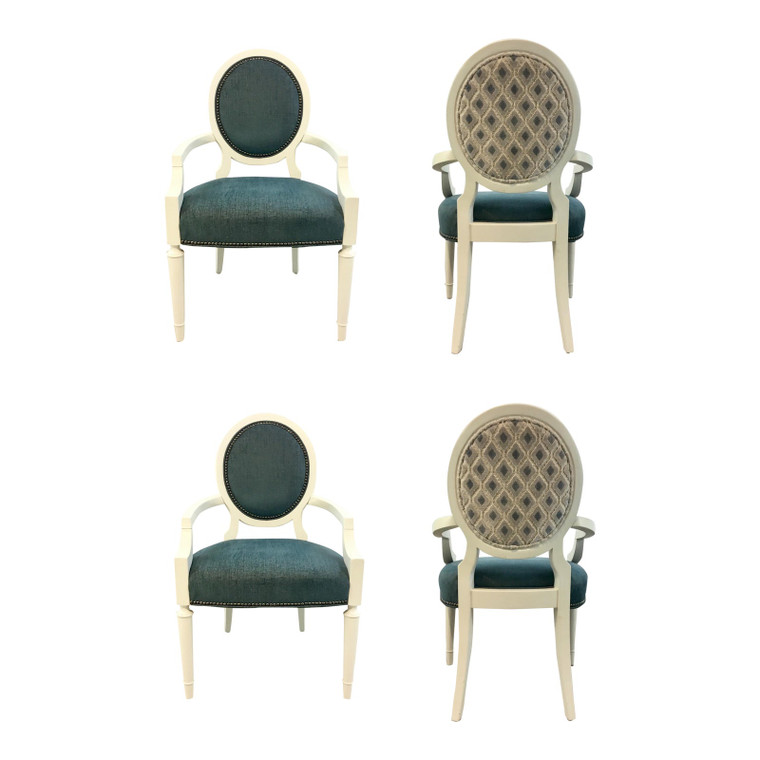 Caracole Couture Modern Chit-Chat Turquoise Dining Chairs Set of Four
