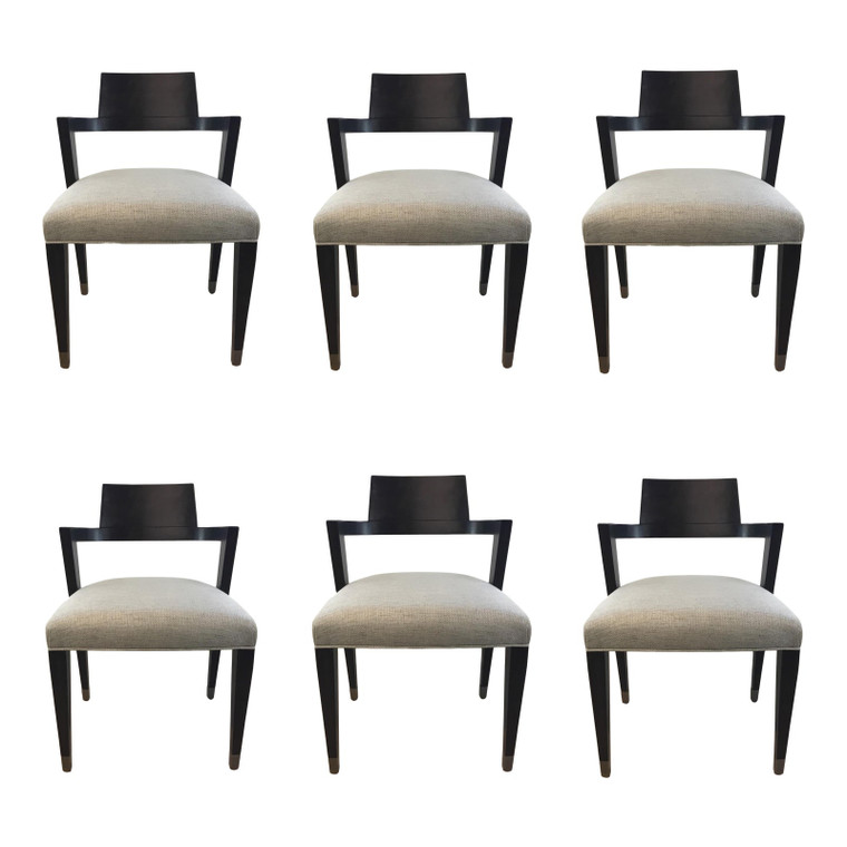 Caracole Modern Black and Gray Dining Chairs Set of Six Prototypes
