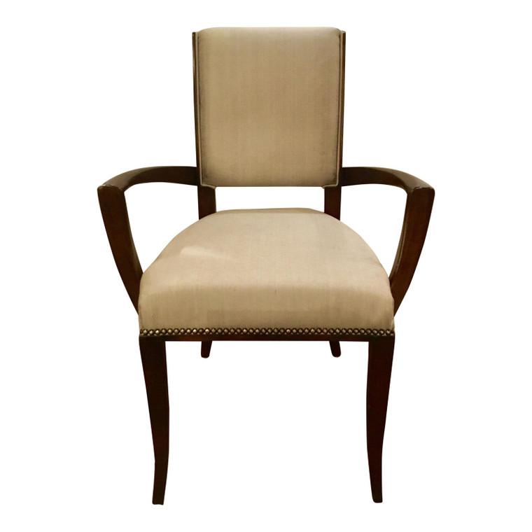 Maitland-Smith Modern Gray Silk Blend Arm Chair