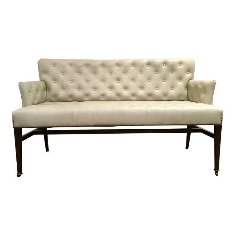 Global View Transitional Gray Tufted Leather Loveseat