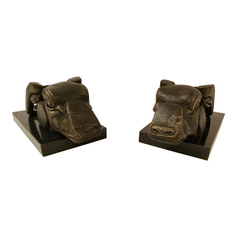 Bronze Bull Sculptures - A Pair