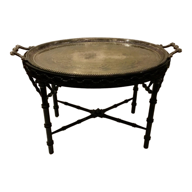 Antique Chinoiserie Silver Plate Tray Table