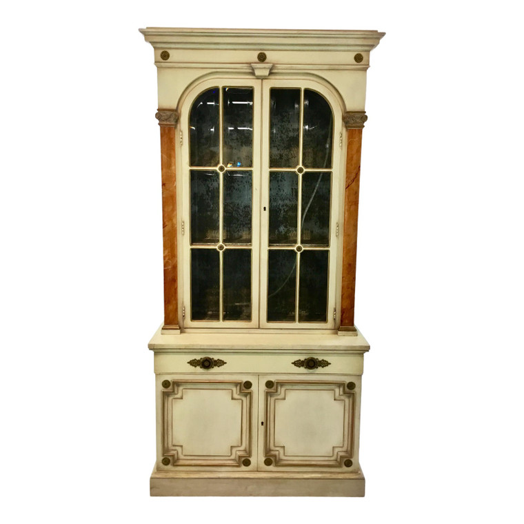Vintage Continental Neoclassical Style Display Cabinet/Bookcase