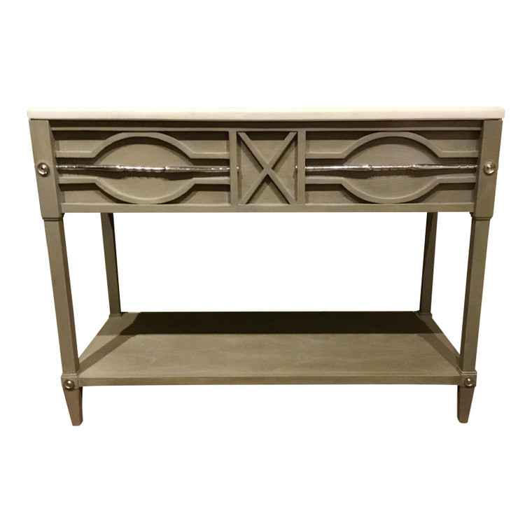 Ambella Home Modern Gray Wood and Marble Large Spindle Sink/Vanity