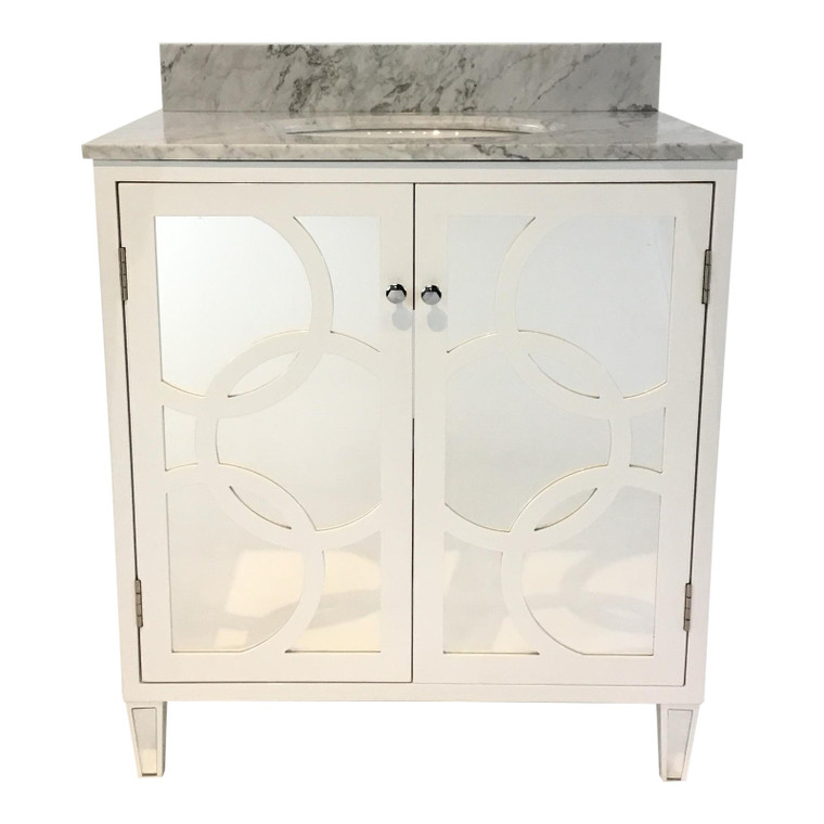 World's Away Modern White and Gray Mirror and Marble Lilith Bath Vanity