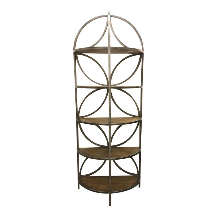 Organic Modern Carved Wood and Metal Etagere/Shelf