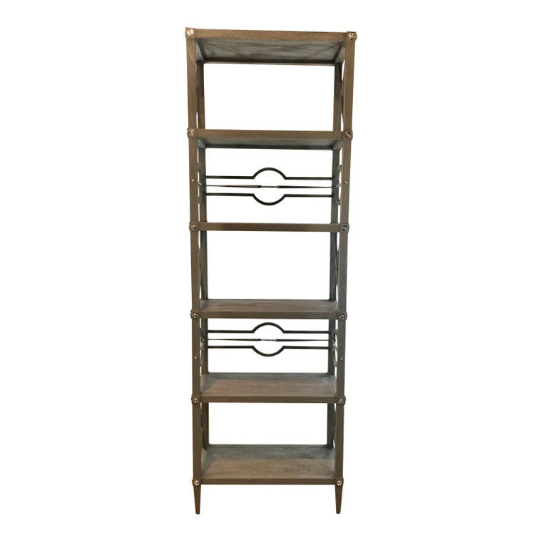 Ambella Home Modern Gray Wood Spindle Etagere