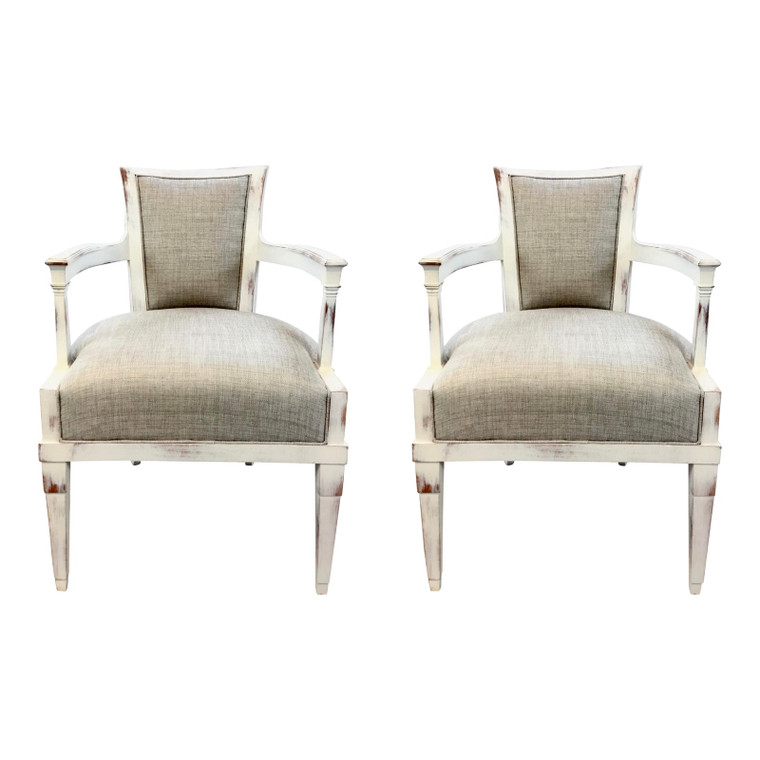 Hickory Chair Transitional White Washed Arm Chairs-a Pair