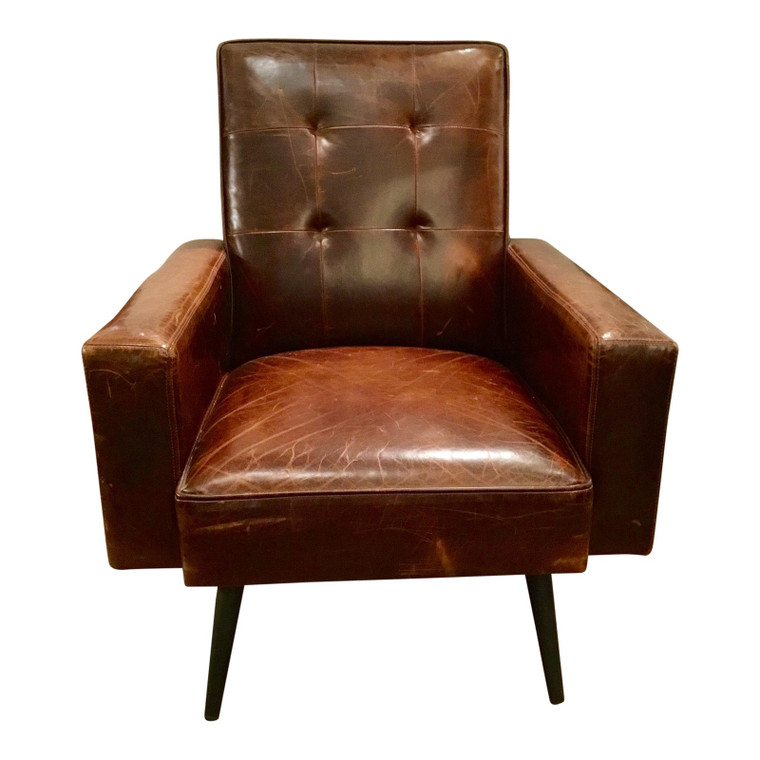 Brown Mid-Century Style Distressed Leather Chair