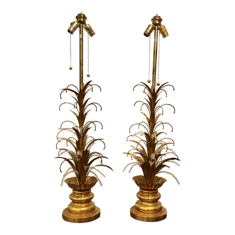 Large Vintage Mid-Century Marbro Lamps Pair