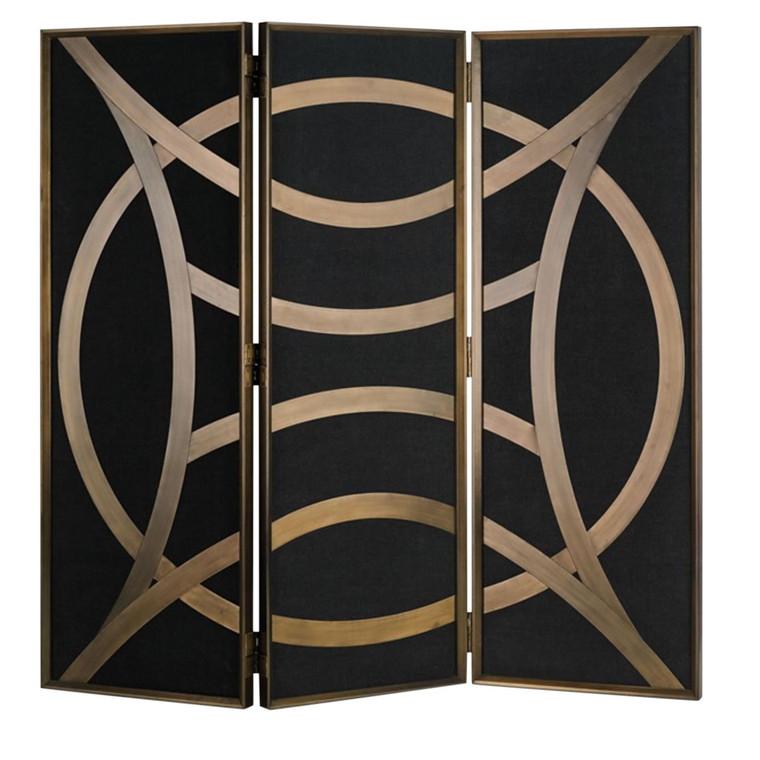Currey & Co. Clara Black and Gold Folding Screen