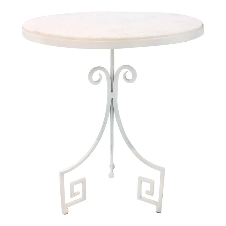 Arteriors Callie White Marble and Metal Greek Key Accent Table