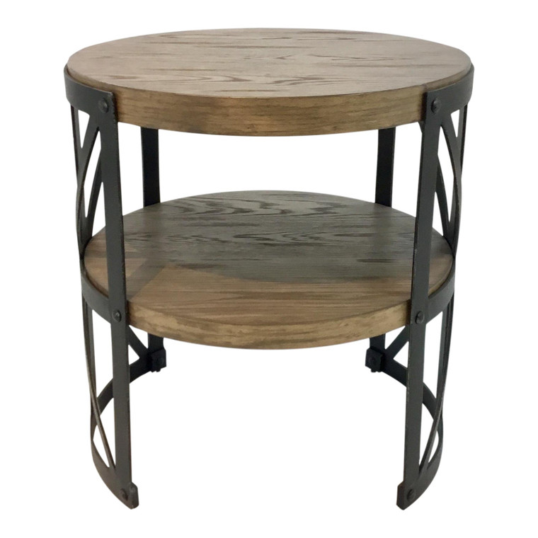 Industrial Organic Modern Wood and Metal End Table