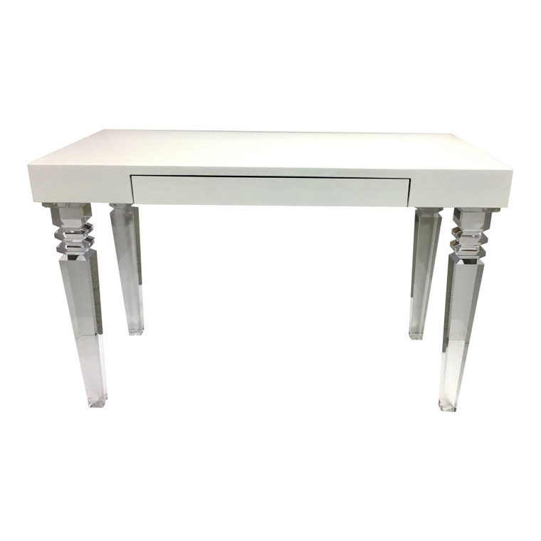 Contemporary White Lacquer and Acrylic Writing Desk