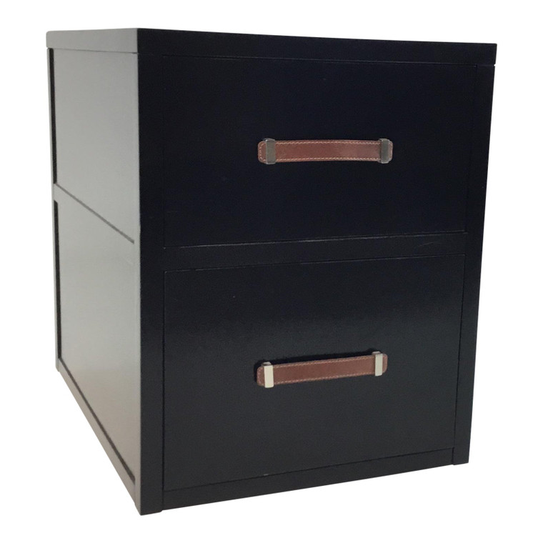 Hickory Chair Modern Black Wood Two Drawer Harrison File Cabinet