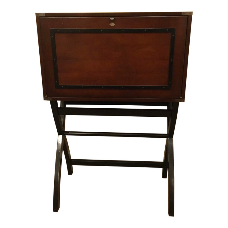 Traditional Mahogany Finished Campaign Cabinet Desk