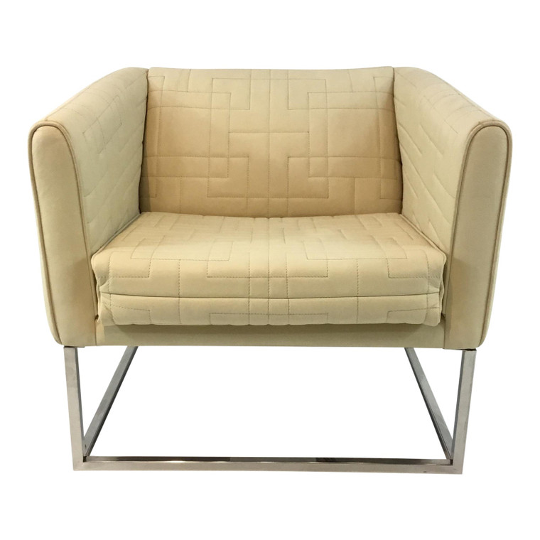 Modern Quilted Ivory Leather Tuxedo Chair