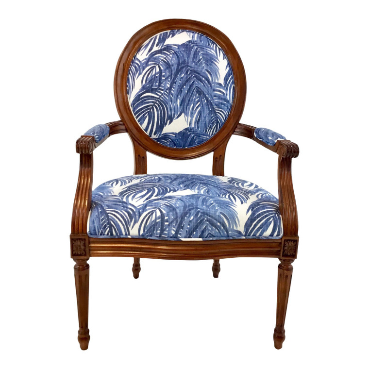 Port 68 French Style Blue Palm Print Avery Arm Chair