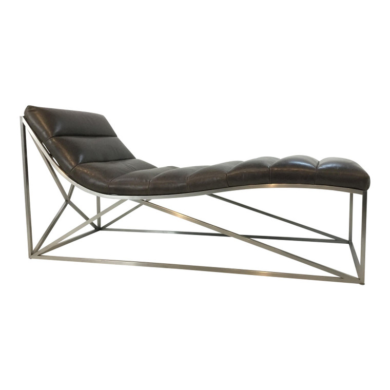 Caracole Modern Taupe Leather Band Together Chaise Lounger