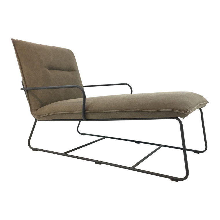 Organic Modern Metal Taupe Chaise Lounger
