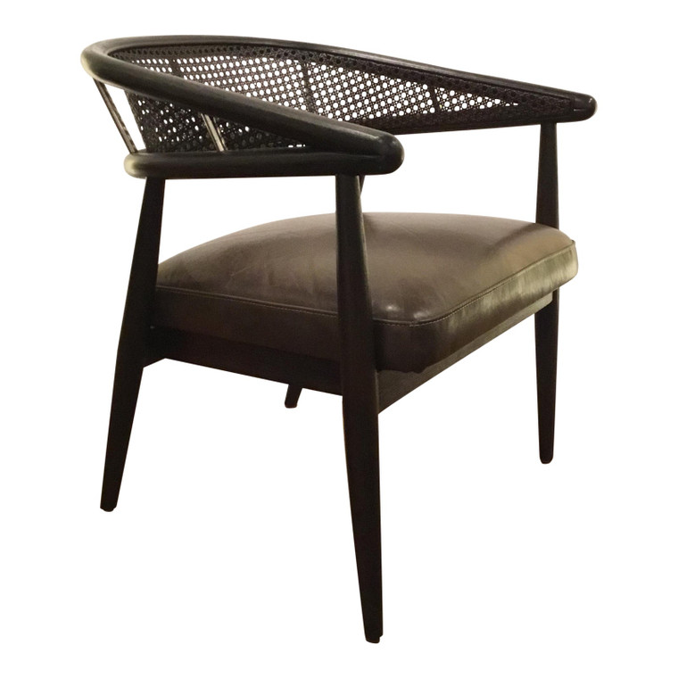 Caracole Mid-Century Modern Style Cane and Leather Just Friend Chair