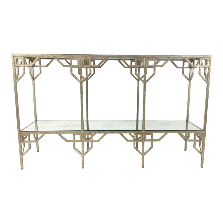 Modern Currey & Co. Metal and Antique Mirror Console Table