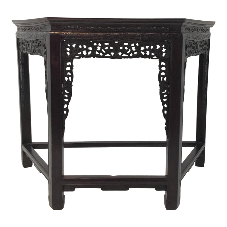Antique Dark Wood Carved Chinease Console Table