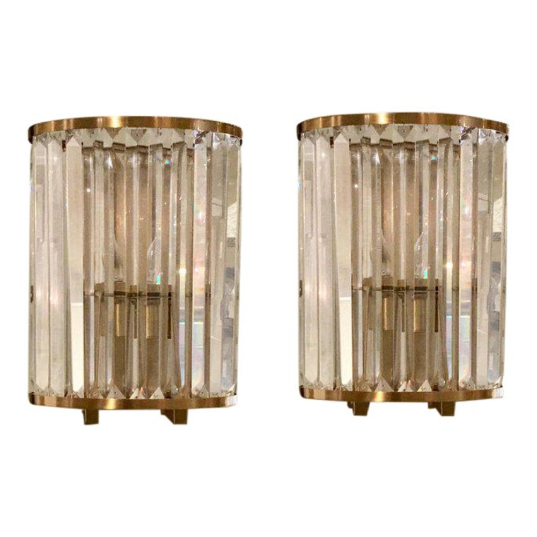 Currey & Co. Modern Brass and Glass Enlightement Wall Sconces - A Pair
