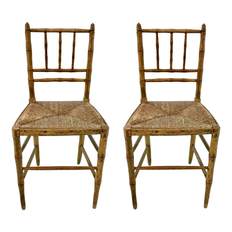 Antique Carved Petit Chid Size Bamboo Chairs Pair