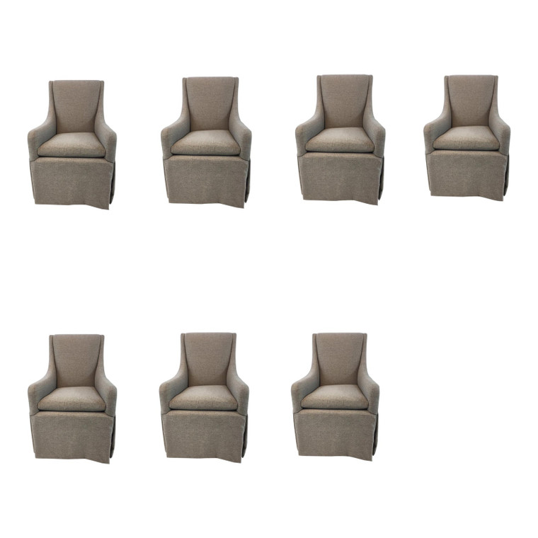Thomasville Taupe Parsons Chairs/Dining Chairs Set of Seven