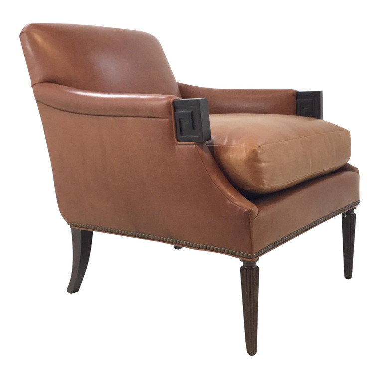 Transitional Hickory Chair Gregory Leather Lounge Chair