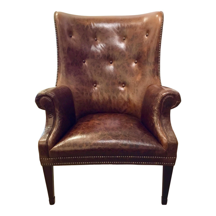 Hickory Chair Transitional Issac Leather Wingback Chair