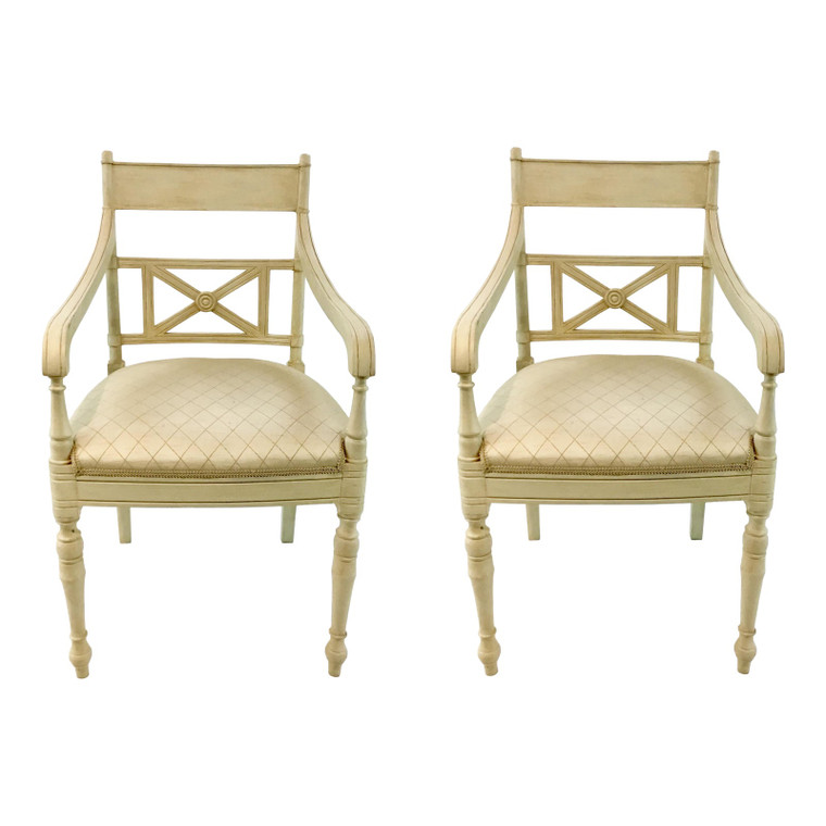 Hickory Chair Vintage Transitional Cream Arm Chairs Pair