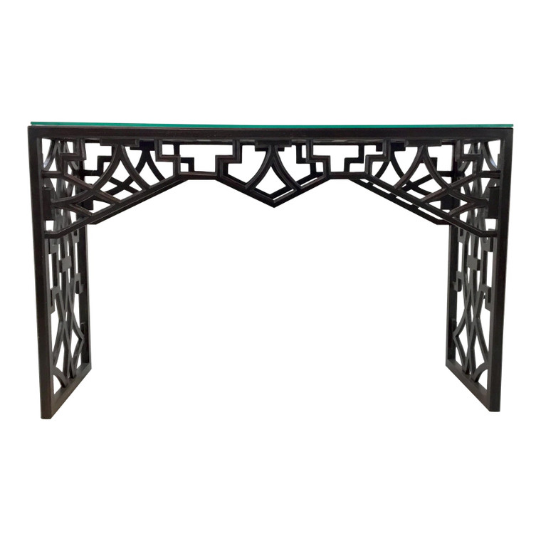 Currey & Co. Asian Modern Carved Wood Nador Black Console Table