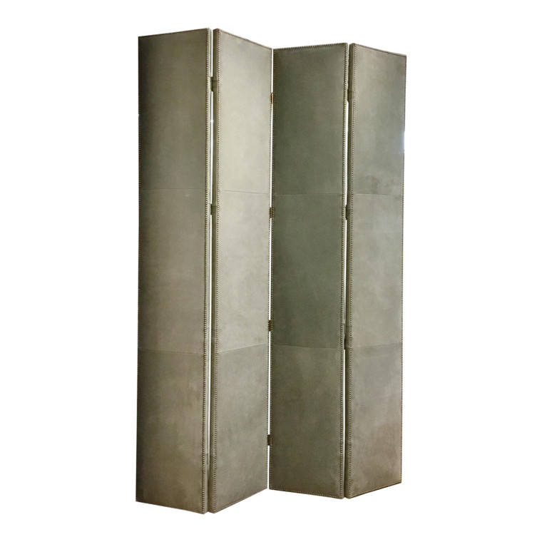 Hickory Chair Transitional Gray Leather Four Panel Screen/Room Divider