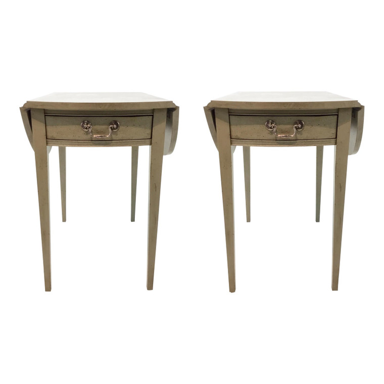 Transitional Hickory Chair Pembroke Taupe Drop Leaf Side Tables Pair