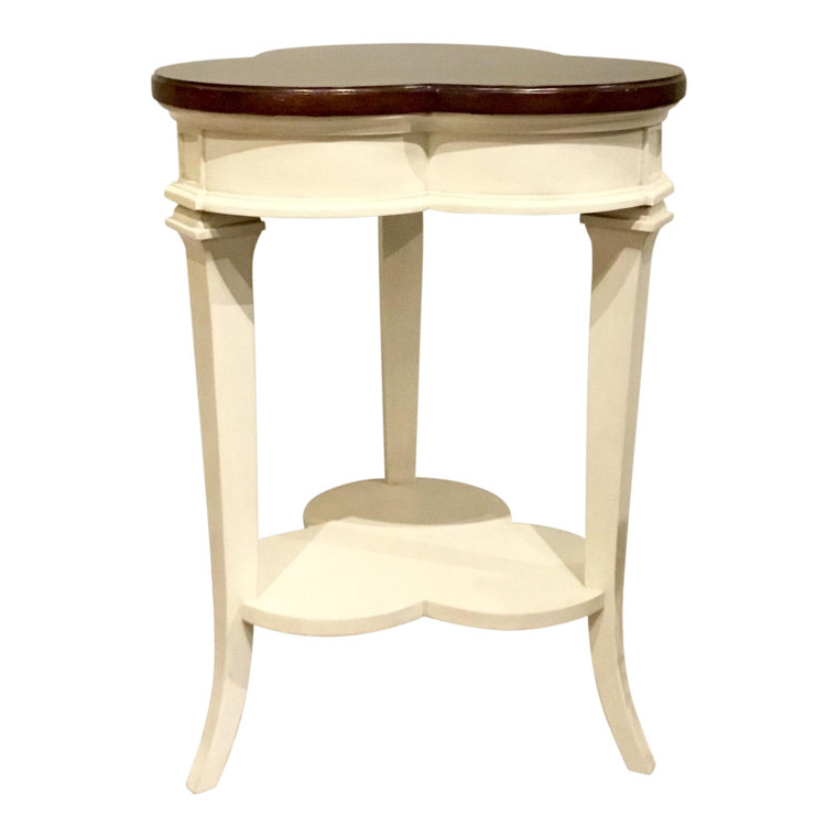 Transitional Ambella Home Wood Qutrefoil Side Table